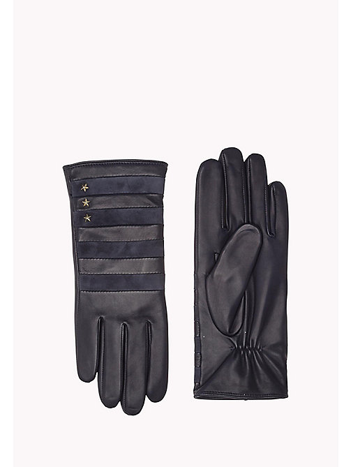 TOMMY HILFIGER Stripy Leather Gloves - TOMMY NAVY - TOMMY HILFIGER Bags & Accessories - main image