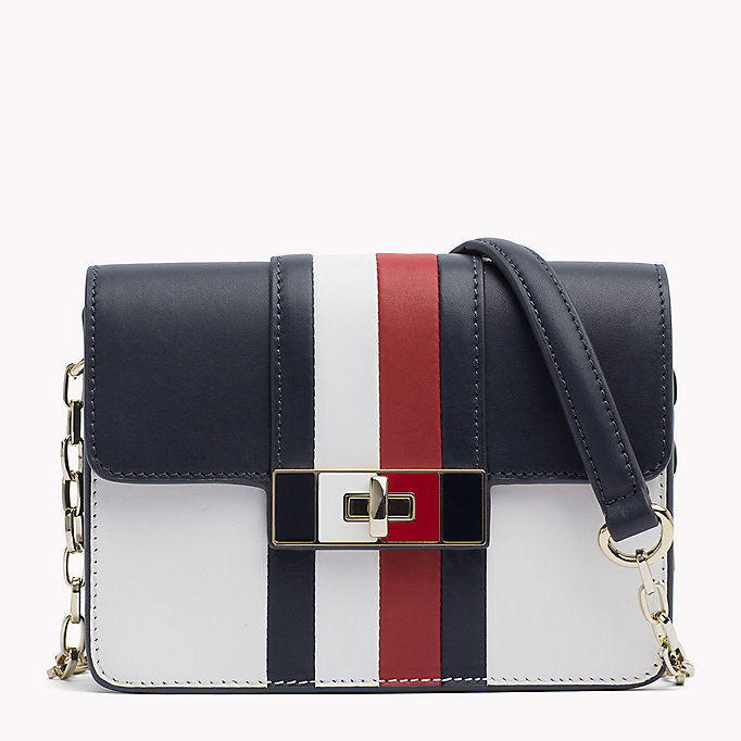 TOMMY HILFIGER Ledertasche mit Ketten-Trageriemen - SURF THE WEB/ BRIGHT WHITE - TOMMY HILFIGER Damen - main image