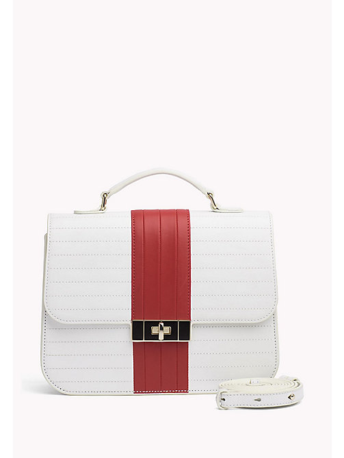 TOMMY HILFIGER Cartella in pelle con decoro a riga - BRIGHT WHITE/ TOMMY RED - TOMMY HILFIGER Borse & Accessori - immagine principale