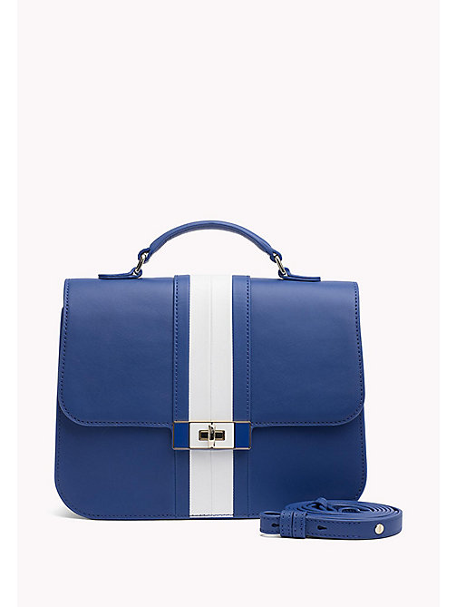 TOMMY HILFIGER Leather Stripe Satchel - SURF THE WEB / BRIGHT WHITE - TOMMY HILFIGER Bags & Accessories - main image