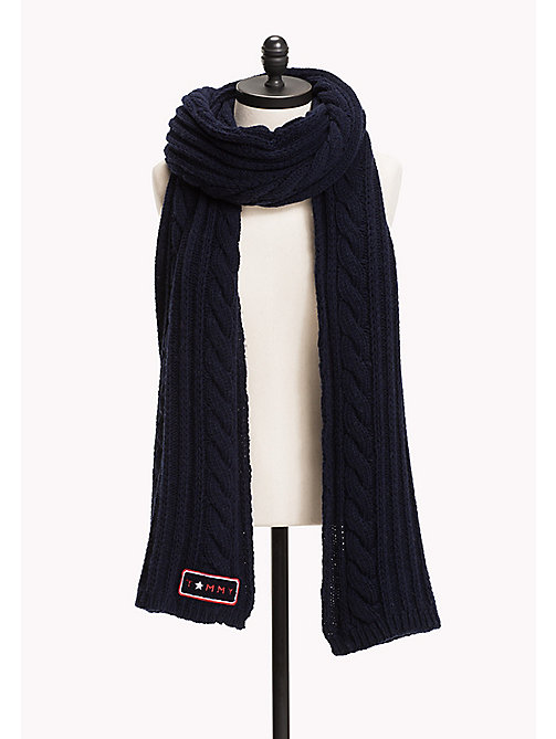 TOMMY HILFIGER Wool Blend Cable Mix Scarf - TOMMY NAVY - TOMMY HILFIGER Test 4 - main image