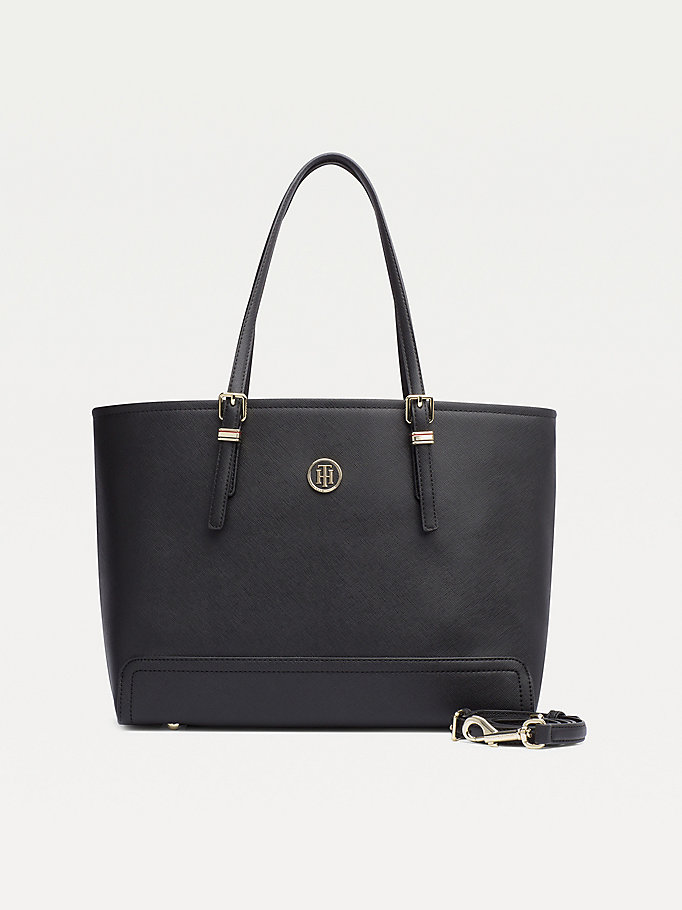black medium monogram logo tote for women tommy hilfiger