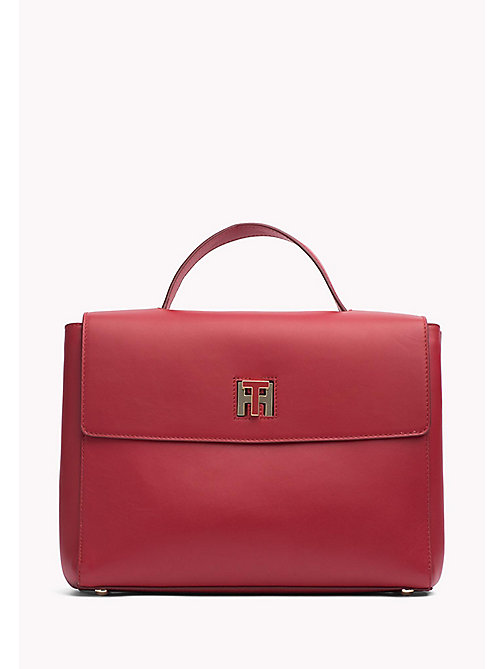 TOMMY HILFIGER Leather Satchel - TOMMY RED - TOMMY HILFIGER Women - main image