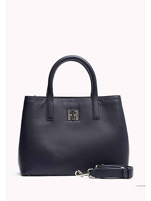 TOMMY HILFIGER Small Leather Tote Bag - TOMMY NAVY - TOMMY HILFIGER Bags & Accessories - main image