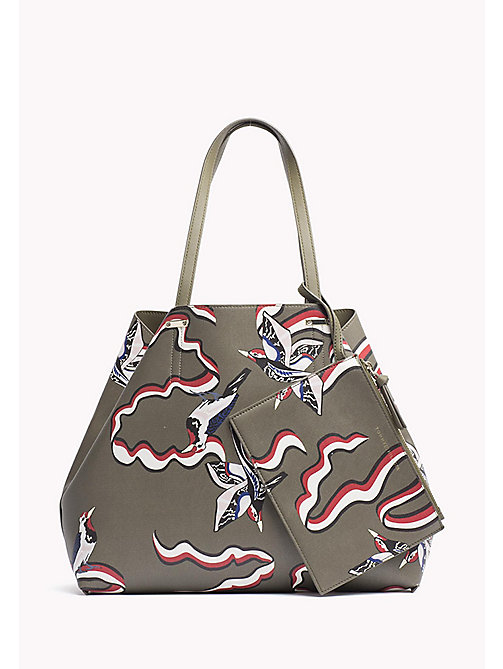 TOMMY HILFIGER Tote Bag - DARK OLIVE/ WOODPECKER PRINT DK OLIVE - TOMMY HILFIGER Bags & Accessories - main image