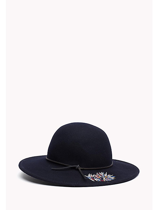 TOMMY HILFIGER Embroidered Flowers Wool Fedora - TOMMY NAVY - TOMMY HILFIGER Bags & Accessories - main image
