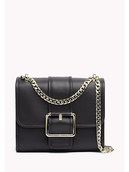 TOMMY HILFIGER Buckle Leather Crossover Bag - BLACK - TOMMY HILFIGER Bags & Accessories - main image