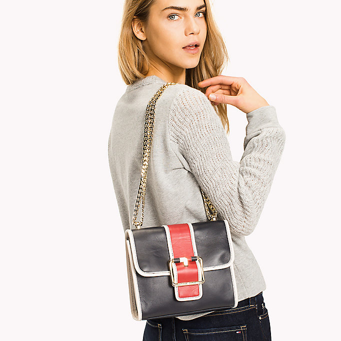 TOMMY HILFIGER Buckle Leather Crossover Bag - BLACK - TOMMY HILFIGER Women - detail image 3