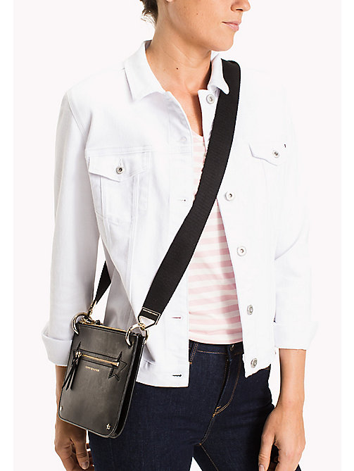 TOMMY HILFIGER Crossover-Bag aus Leder - BLACK - TOMMY HILFIGER Clutch - main image 1