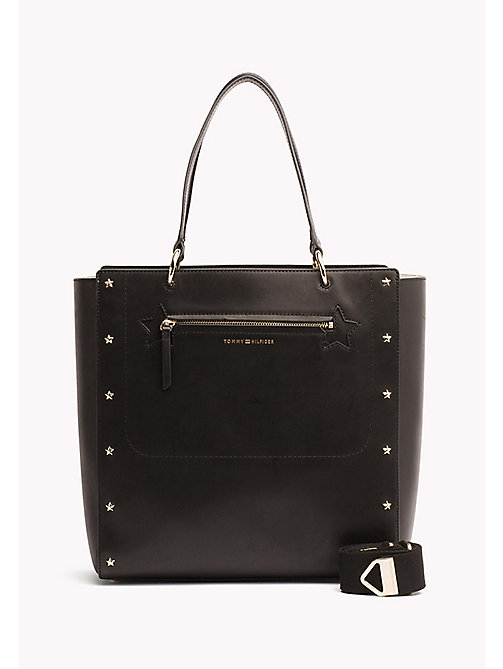 TOMMY HILFIGER Star Studded Leather Tote Bag - BLACK - TOMMY HILFIGER Tote Bags - main image