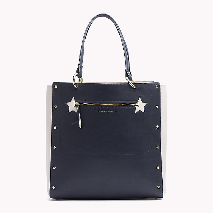TOMMY HILFIGER Star Studded Leather Tote Bag - BLACK - TOMMY HILFIGER Women - main image