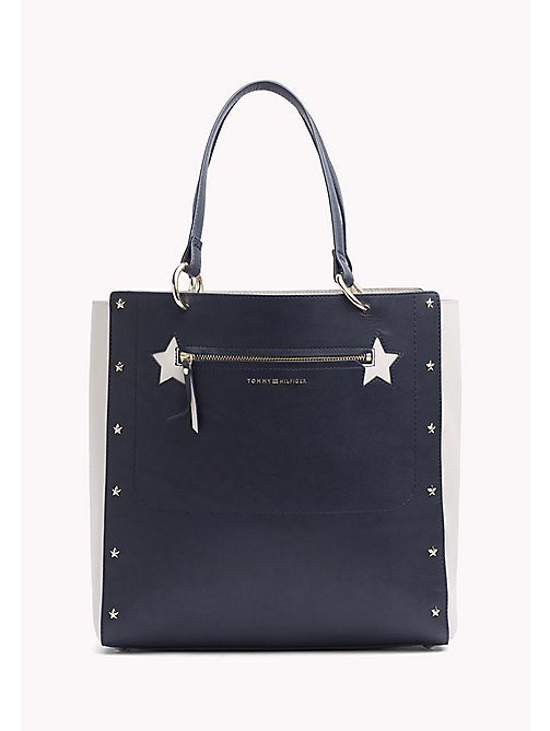 TOMMY HILFIGER Star Studded Leather Tote Bag - TOMMY NAVY/ TURTLE DOVE - TOMMY HILFIGER Bags - main image