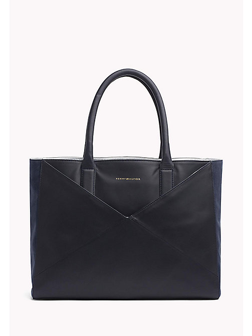 TOMMY HILFIGER Leather Tote Bag - TOMMY NAVY - TOMMY HILFIGER Bags - main image