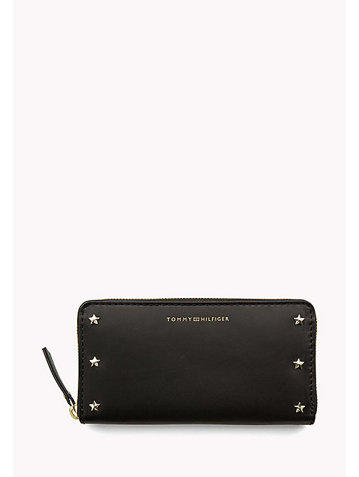 TOMMY HILFIGER Studded Leather Zip-Around Wallet - BLACK - TOMMY HILFIGER Wallets & Keyrings - main image