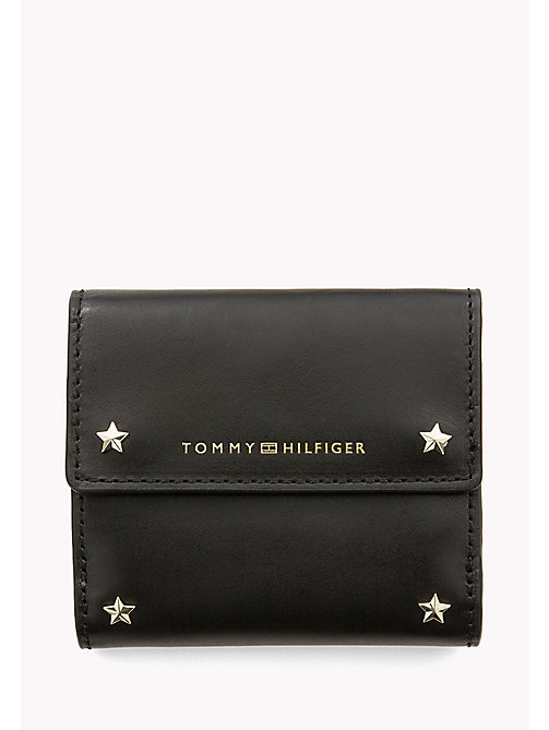 TOMMY HILFIGER Leather Trifold Flap Wallet - BLACK - TOMMY HILFIGER Wallets & Keyrings - main image