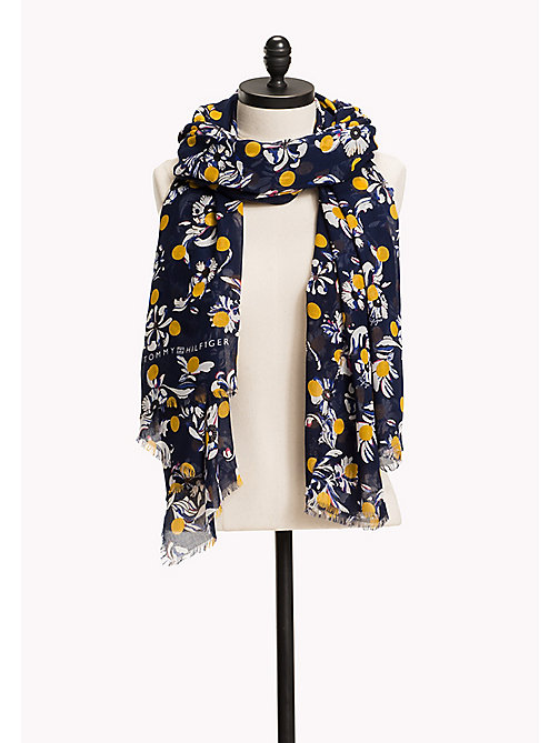 TOMMY HILFIGER Floral Dot Scarf - TOMMY NAVY - TOMMY HILFIGER Hats, Gloves & Scarves - main image