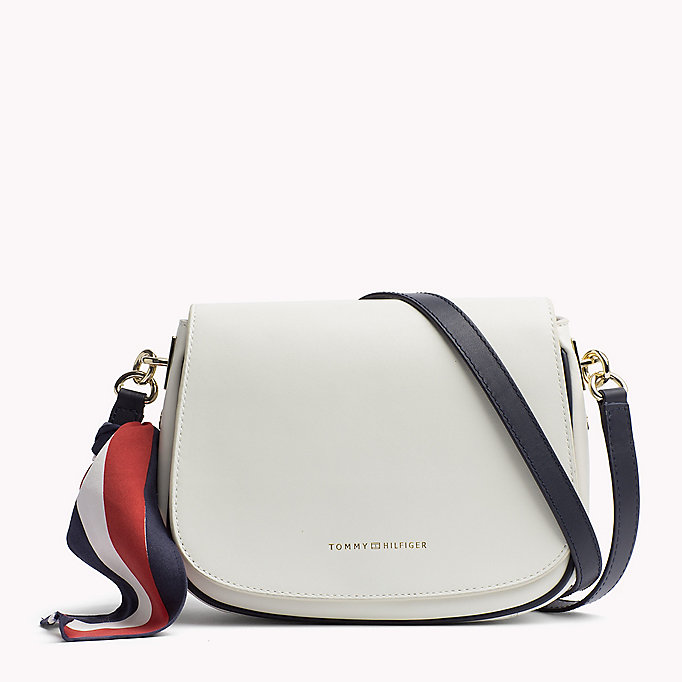 TOMMY HILFIGER Statement Strap Leather Saddle Bag - TOMMY NAVY - TOMMY HILFIGER Bags & Accessories - main image