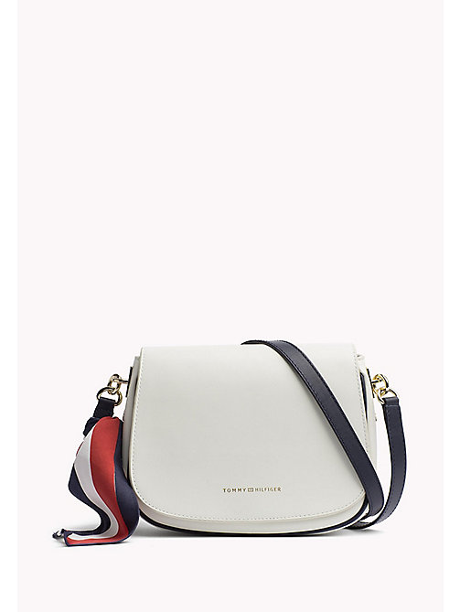 TOMMY HILFIGER Leren statement saddlebag - BRIGHT WHITE - TOMMY HILFIGER Crossbodytassen - main image