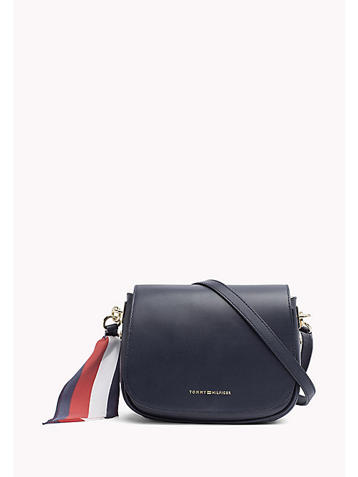 TOMMY HILFIGER Leren statement saddlebag - TOMMY NAVY - TOMMY HILFIGER Crossbodytassen - main image