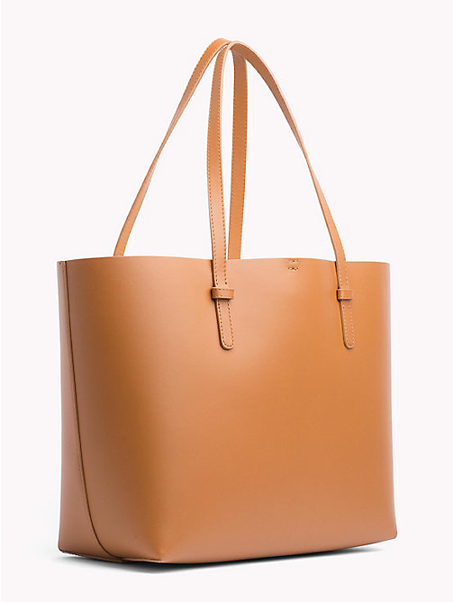 TOMMY HILFIGER Leather Tote Bag - COGNAC/ YELLOW - TOMMY HILFIGER Tote Bags - detail image 1