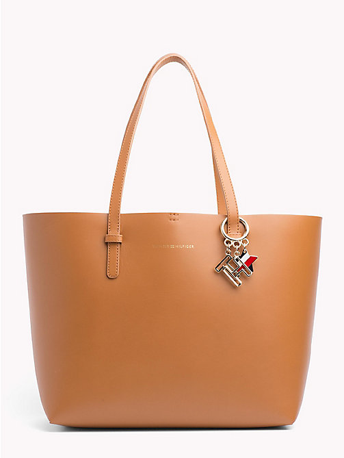 TOMMY HILFIGER Leather Tote Bag - COGNAC/ YELLOW - TOMMY HILFIGER Tote Bags - main image