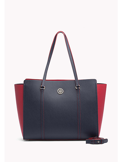 TOMMY HILFIGER Logo Plaque Tote Bag - TOMMY NAVY / TOMMY RED - TOMMY HILFIGER Tote Bags - main image