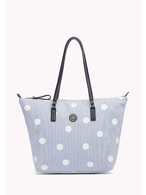 TOMMY HILFIGER Canvas Stripe Print Tote - STRIPE AND DOTS - TOMMY HILFIGER VACATION FOR HER - main image