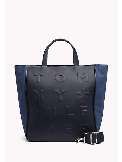 TOMMY HILFIGER Logo Embossed Tote - TOMMY NAVY - TOMMY HILFIGER Tote Bags - main image