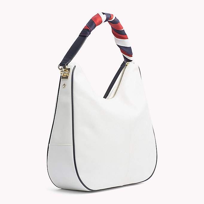 TOMMY HILFIGER Satin Foulard Leather Hobo Bag - TOMMY NAVY - TOMMY HILFIGER Women - detail image 1