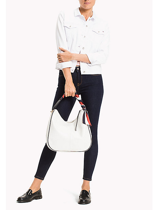 TOMMY HILFIGER Satin Foulard Leather Hobo Bag - BRIGHT WHITE - TOMMY HILFIGER Bolsos hobo - imagen detallada 1
