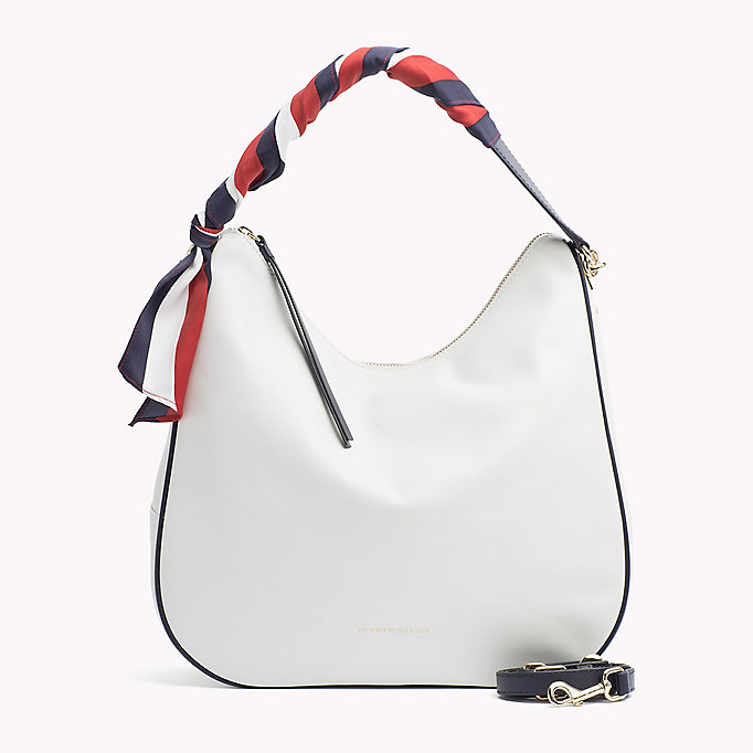 TOMMY HILFIGER Satin Foulard Leather Hobo Bag - TOMMY NAVY - TOMMY HILFIGER Women - main image