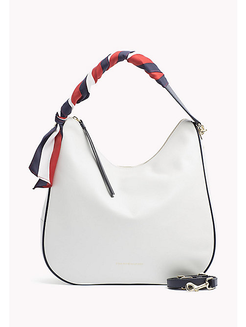 TOMMY HILFIGER Satin Foulard Leather Hobo Bag - BRIGHT WHITE - TOMMY HILFIGER Bolsos hobo - imagen principal