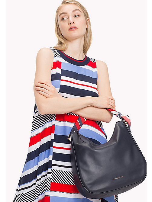 TOMMY HILFIGER Satin Foulard Leather Hobo Bag - TOMMY NAVY - TOMMY HILFIGER Hobos - detail image 1