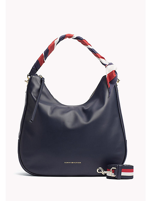 TOMMY HILFIGER Satin Foulard Leather Hobo Bag - TOMMY NAVY - TOMMY HILFIGER Hobotaschen - main image