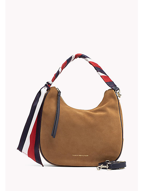 TOMMY HILFIGER Statement Strap Suede Hobo Bag - COGNAC - TOMMY HILFIGER Bags & Accessories - main image