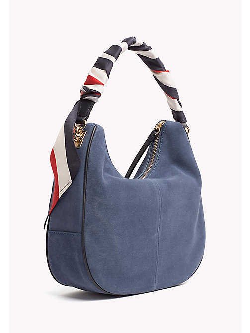 TOMMY HILFIGER Statement Strap Suede Hobo Bag - DUTCH BLUE - TOMMY HILFIGER Bolsos hobo - imagen detallada 1