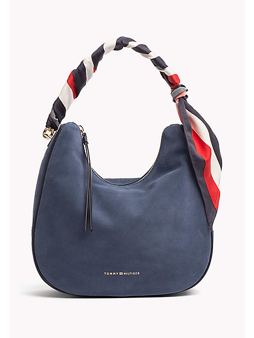 TOMMY HILFIGER Statement Strap Suede Hobo Bag - DUTCH BLUE - TOMMY HILFIGER Hobos - main image