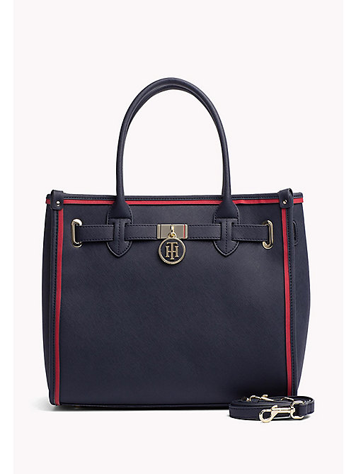 TOMMY HILFIGER Structured Saffiano Tote Bag - TOMMY NAVY - TOMMY HILFIGER Tote Bags - main image