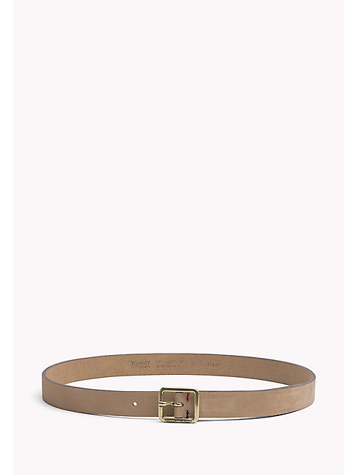 TOMMY JEANS Square Buckle Leather Belt - TAN - TOMMY JEANS Belts - main image