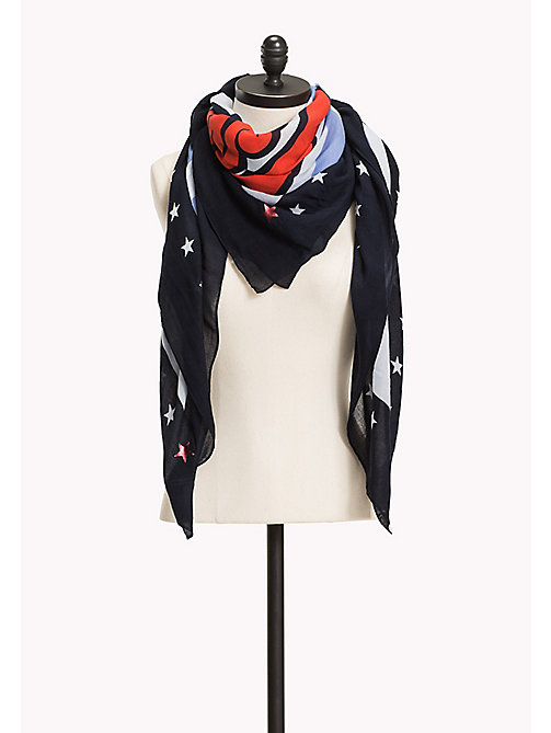 TOMMY HILFIGER Stripe Scarf - TOMMY NAVY - TOMMY HILFIGER Hats, Gloves & Scarves - main image