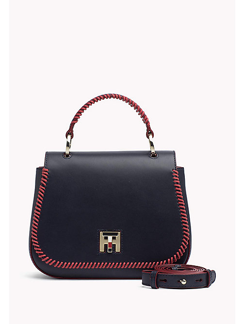 TOMMY HILFIGER Lockable Leather Bag - TOMMY NAVY - TOMMY HILFIGER Crossover Bags - main image