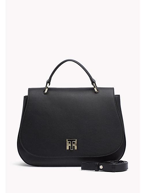 TOMMY HILFIGER Curved Leather Satchel - BLACK - TOMMY HILFIGER The Office Edit - main image