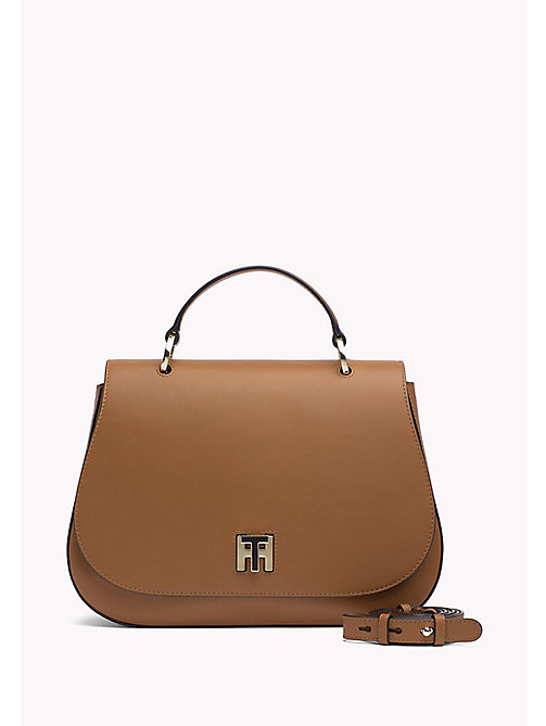 TOMMY HILFIGER Curved Leather Satchel - COGNAC - TOMMY HILFIGER Satchel Bags - main image
