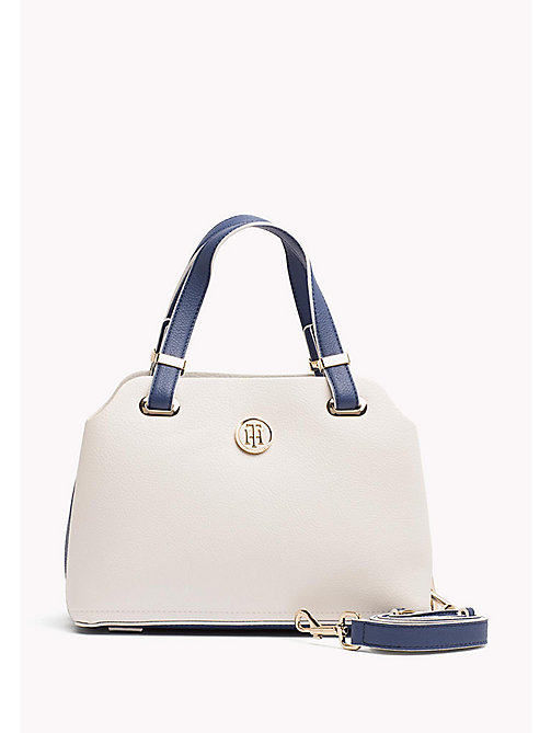 TOMMY HILFIGER Monogram Satchel Bag - BRIGHT WHITE/ DUTCH BLUE - TOMMY HILFIGER Bags & Accessories - main image