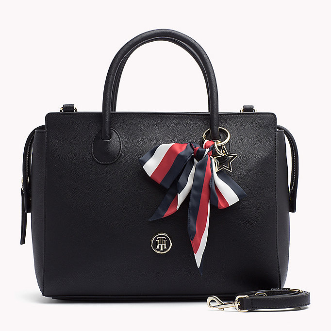 TOMMY HILFIGER Ribbon Embellished Satchel - TOMMY NAVY - TOMMY HILFIGER Bags & Accessories - main image