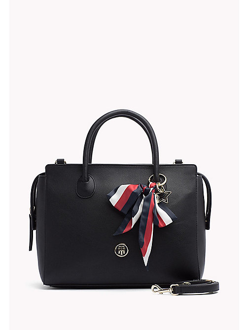 TOMMY HILFIGER Ribbon Embellished Satchel - BLACK - TOMMY HILFIGER The Office Edit - main image