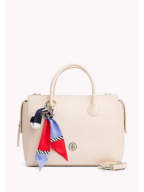 TOMMY HILFIGER Ribbon Embellished Satchel - TAPIOCA - TOMMY HILFIGER The Office Edit - main image