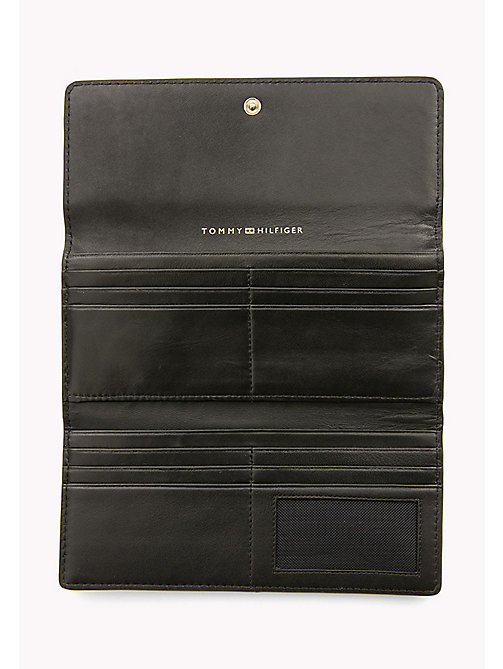 TOMMY HILFIGER Smooth Leather Slim Flap Wallet - BLACK - TOMMY HILFIGER Purses - detail image 1