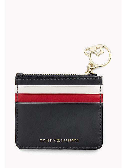 TOMMY HILFIGER Stripe Leather Zip Cardholder - TOMMY NAVY - TOMMY HILFIGER Purses - main image