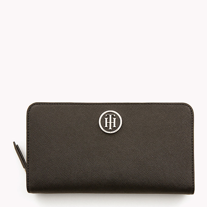 TOMMY HILFIGER Logo Zip Around Wallet - TOMMY NAVY/ TOMMY RED - TOMMY HILFIGER Women - main image